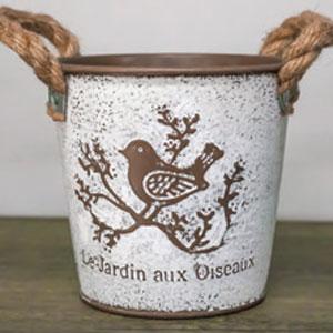 French Bird Garden Tin  Flower Pot