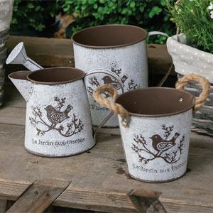French Bird Garden Tins- Set Of 3
