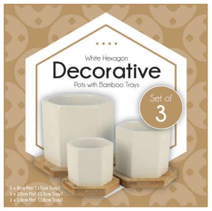 Hexagonal Ceramic Pot – Multisize Set Of3